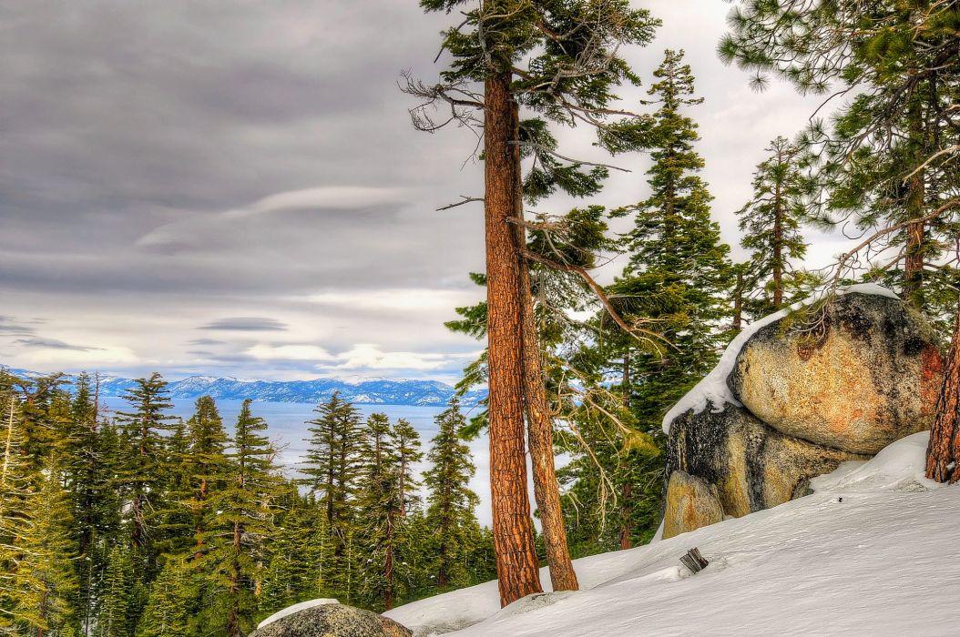 Lake Tahoe California Nevada autumn winter c wallpaper