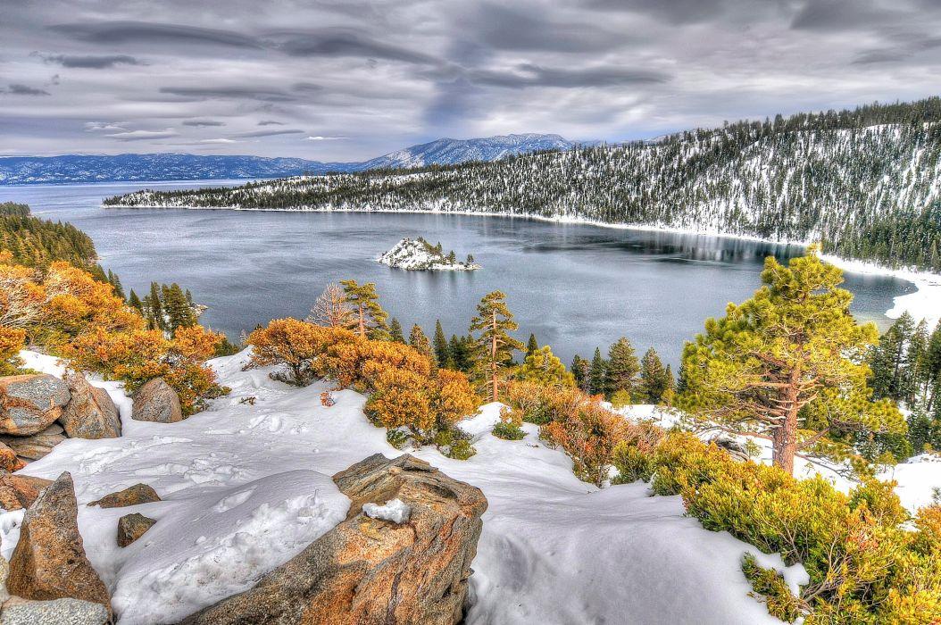 Lake Tahoe California Nevada autumn winter wallpaper