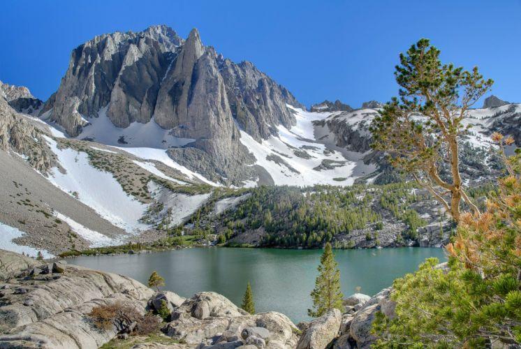lake mountains trees landscape wallpaper