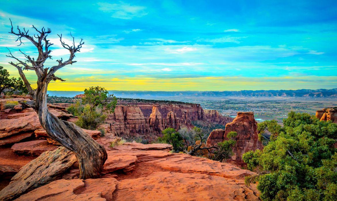 Monument Canyon Colorado sunset mountains rocks trees landscape wallpaper