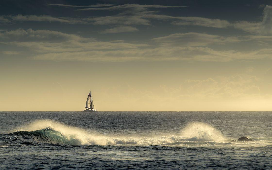 Kauai Hawaii the Pacific Ocean ocean waves catamaran horizon boat sea wallpaper