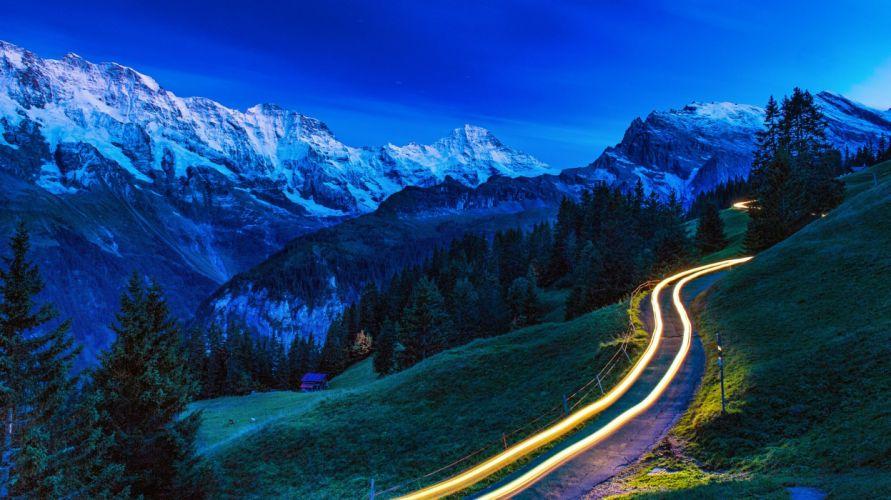 mountains trees road landscape wallpaper