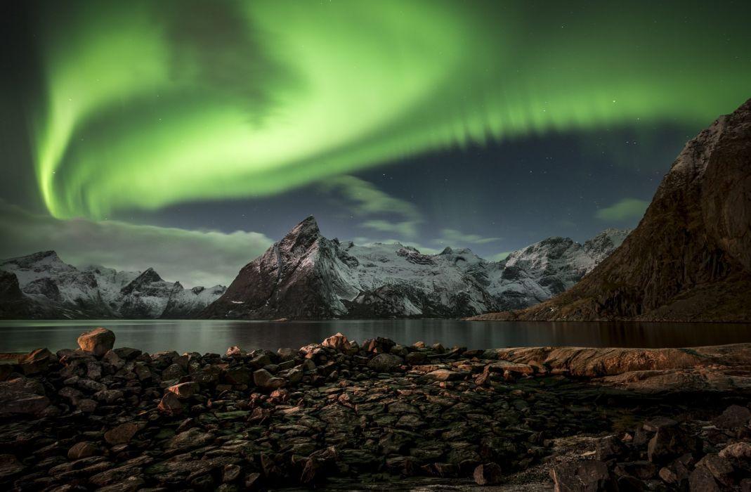 northern lights mountains night Lofoten Islands lake wallpaper