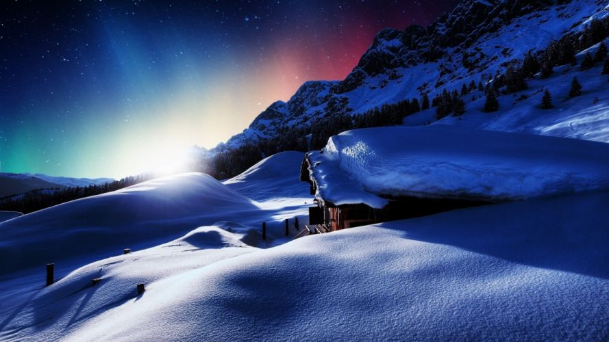 sunset house mountains winter snow landscape wallpaper
