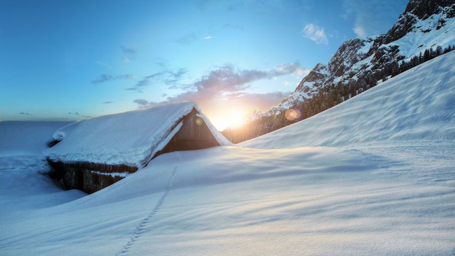 winter sunset mountain house landscape barn rustic wallpaper