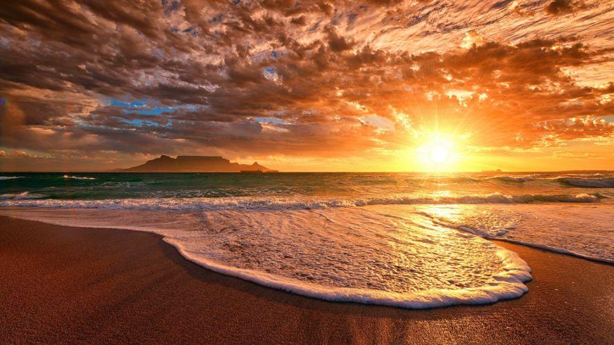 sunset mrore beach nature wallpaper