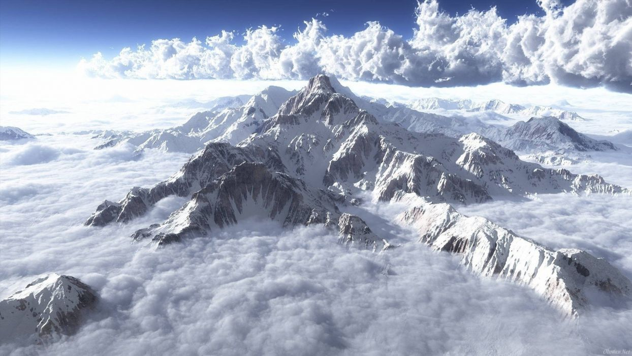Alps mountains snow clouds wallpaper