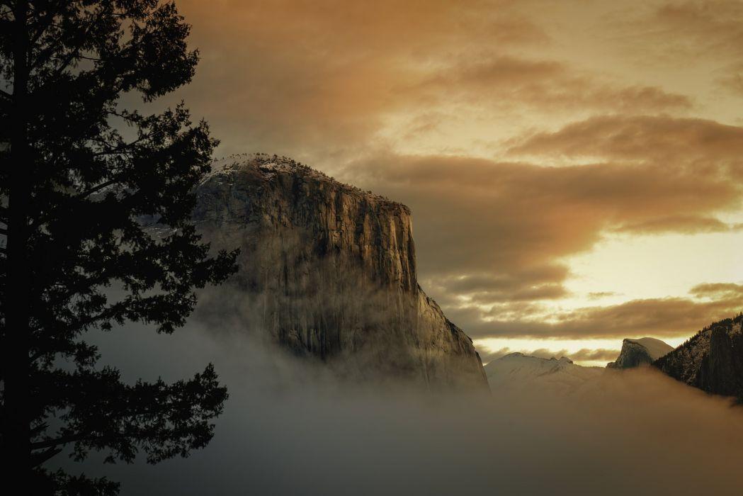 National Park Yosemite USA winter mountains sunrise sunset fog wallpaper