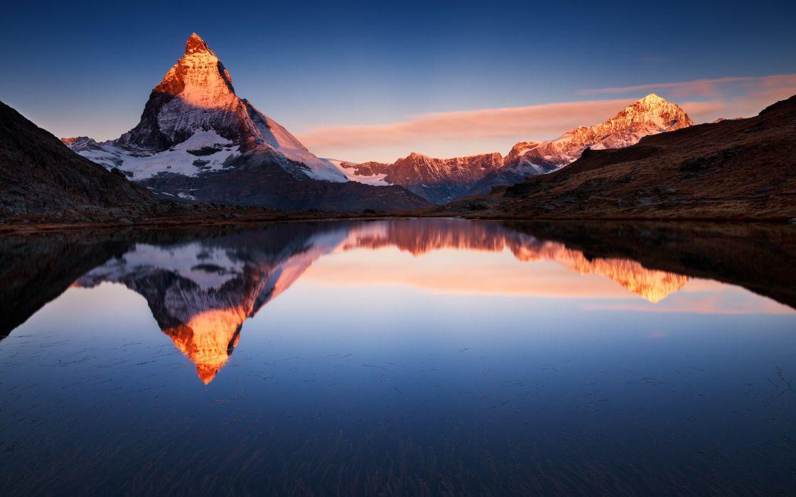 mountains lake reflection snow wallpaper
