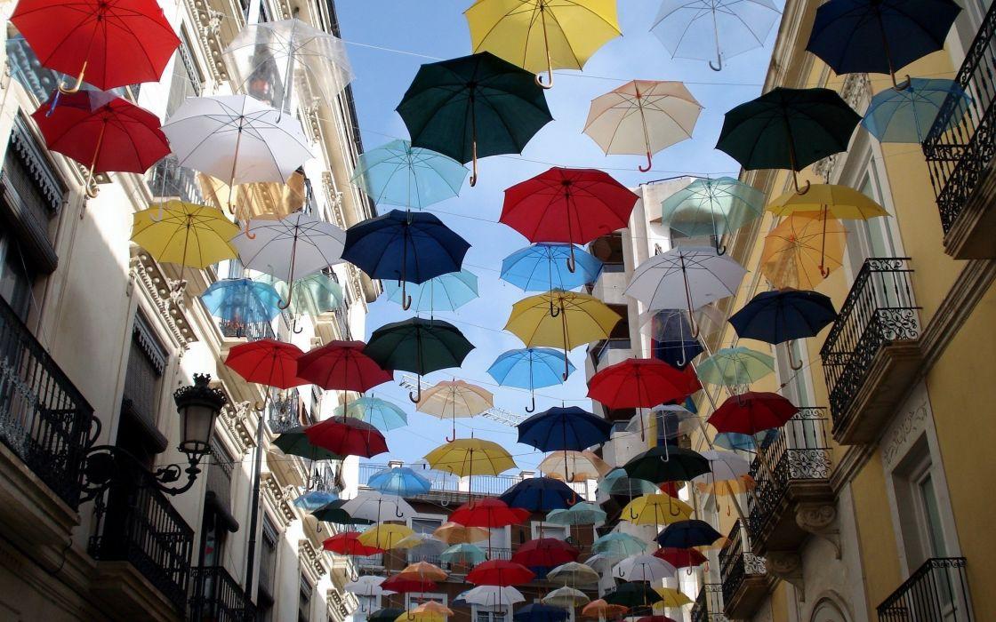 city buildings architecture umbrellas wallpaper