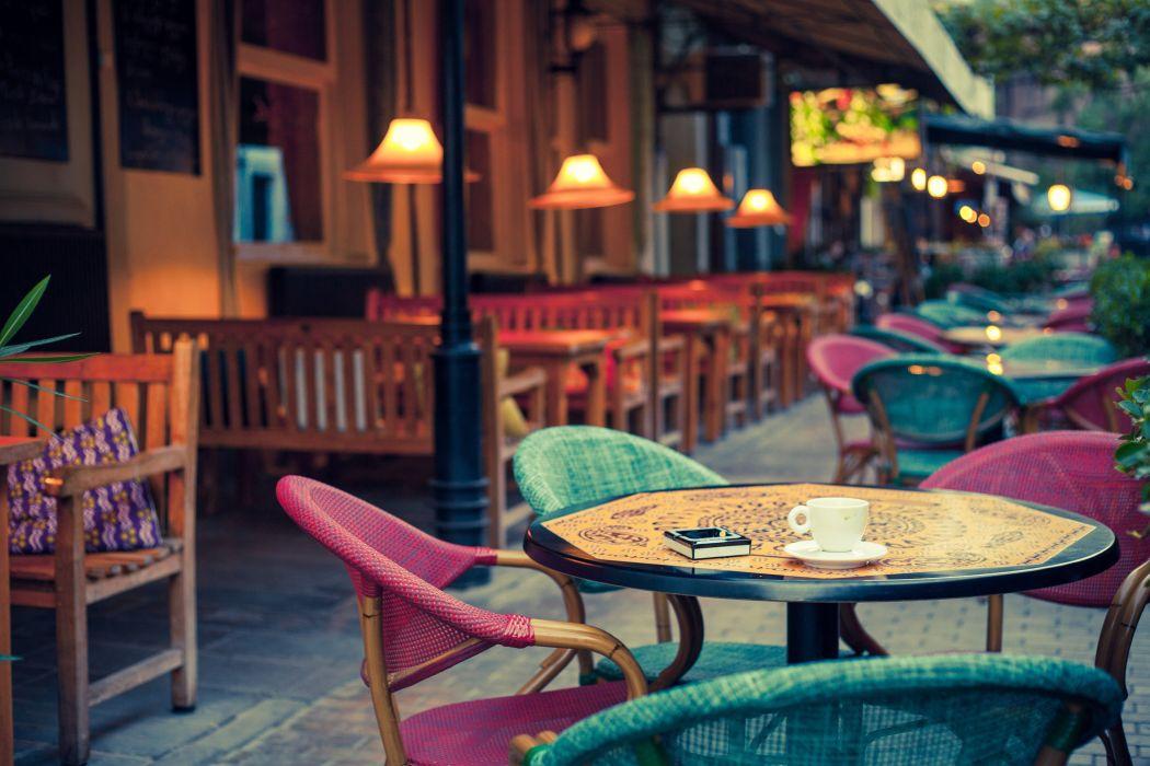bedside tables cafe city lights street wallpaper