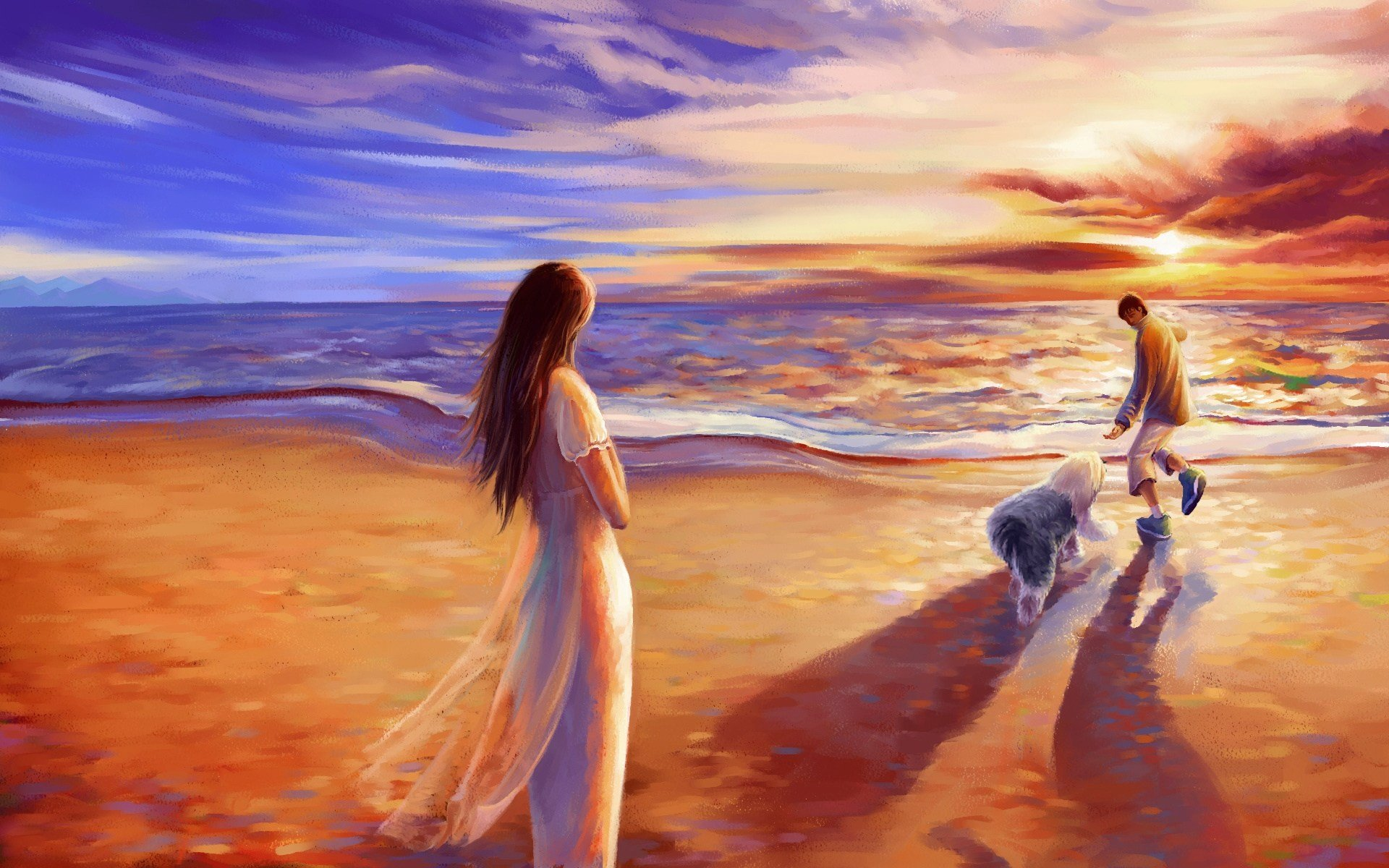 Love couple Painting Hd Wallpaper : Beach sea couple art dog paint wallpaper 1920x1200 559820 WallpaperUP