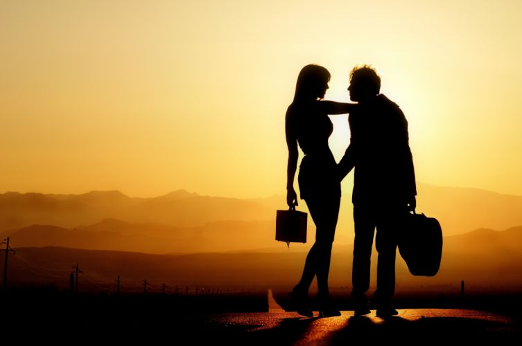 silhouette couple love sunset mountain sky light wallpaper
