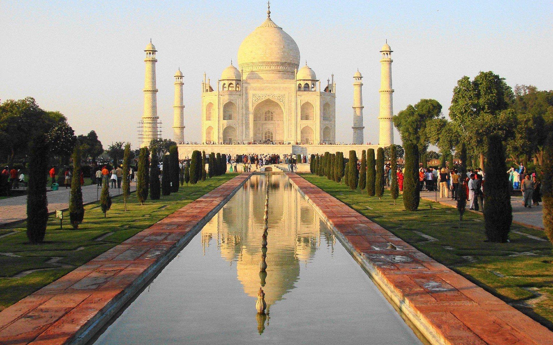 Beautiful Pool Taj Mahal Agra India Palace Architecture Wallpaper