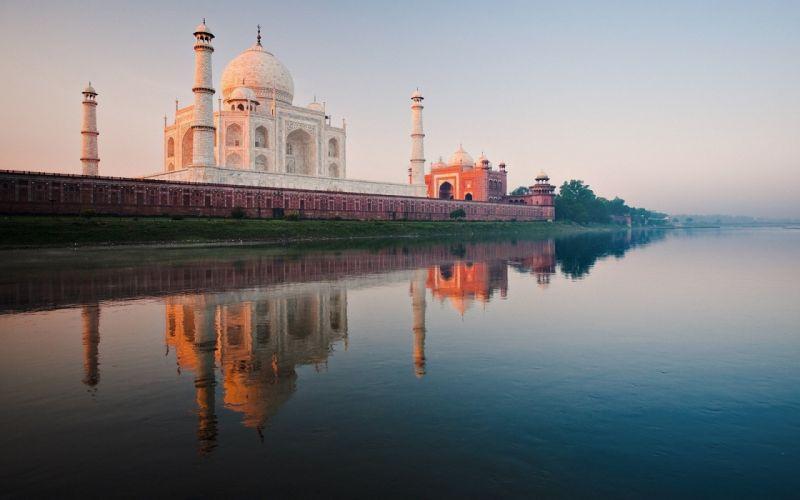 India Taj Mahal river Yamuna wallpaper