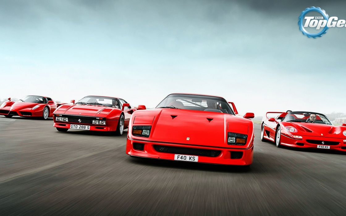Ferrari 288 GTO F40 F50 Enzo Supercars Italian Red Track Top Gear Front wallpaper