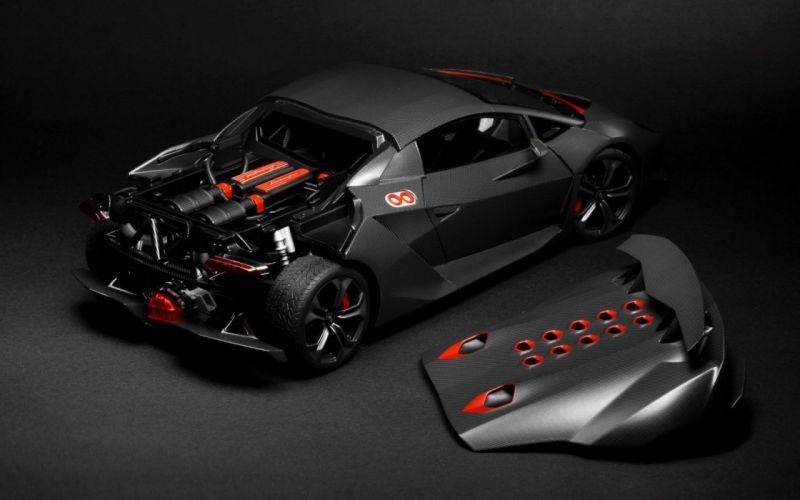 Lamborghini Sesto Element Supercar Rear Hood Grey wallpaper