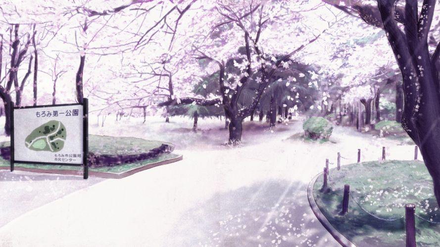 Painting Art Park Sakura Trees Nature original petals blossoms garden artwork wallpaper