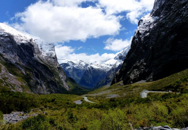 New Zealand Park Mountains Fiordland Clouds Grass Nature road snow wallpaper