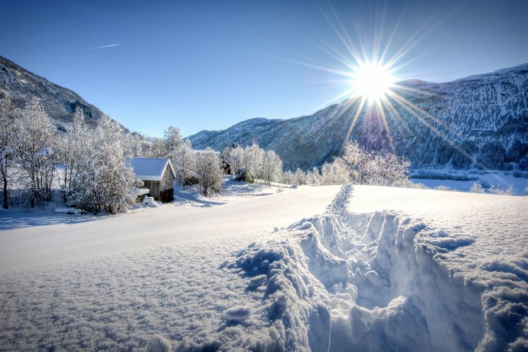 Seasons Winter Mountains Snow Trees Rays of light Sun Natur rustic farm house barn wallpaper