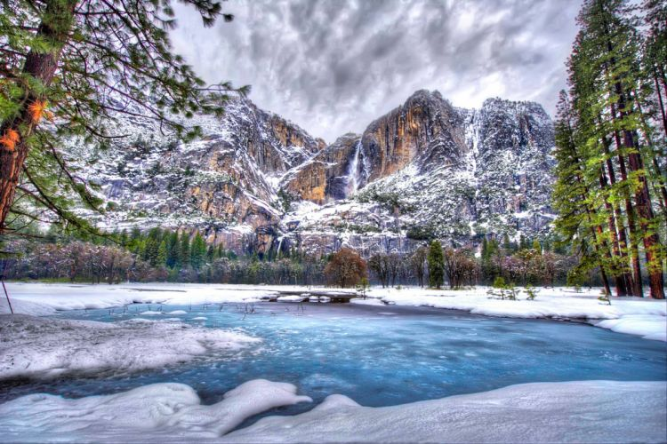USA Parks Seasons Winter Mountains Lake Yosemite HDR Nature wallpaper