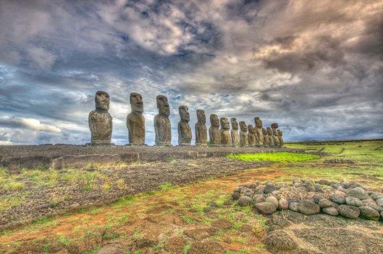 Chile Stones Sky Rapa Nui Easter Island HDR Nature statue wallpaper