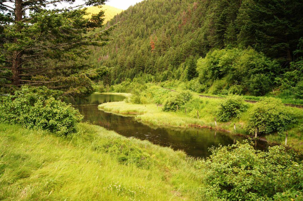Canada Lake Pear Lake Shrubs Grass Nature river stream hills mountains wallpaper