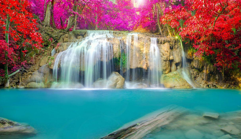 Thailand Parks Waterfalls Erawan waterfall National Park Nature autumn wallpaper
