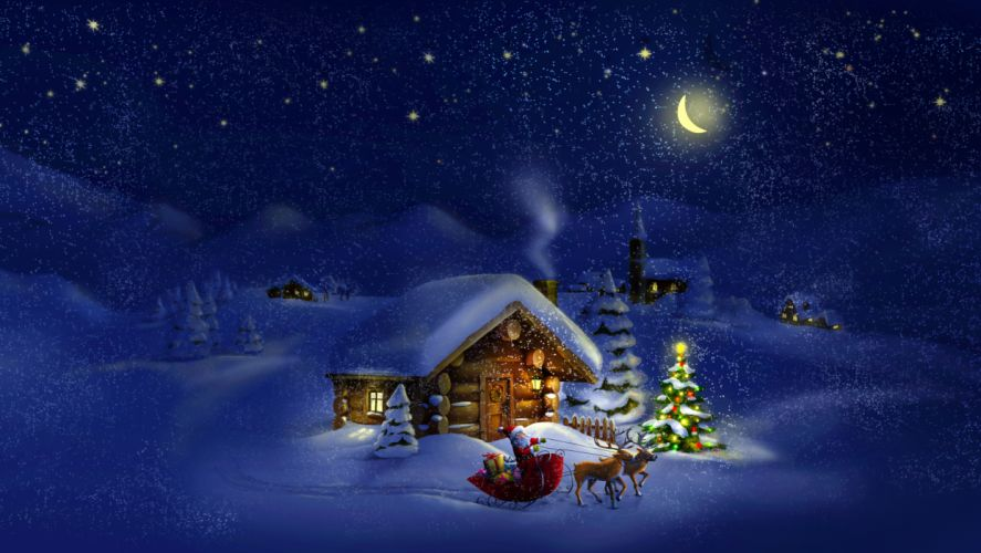 easons Winter Houses Holidays Christmas ( New year ) Deer Snow Moon Christmas tree Night Santa Claus Nature wallpaper