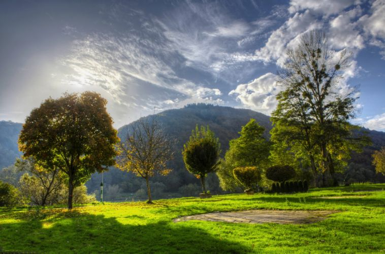 Germany Scenery Mountains Sky Nehren Trees Grass Nature wallpaper