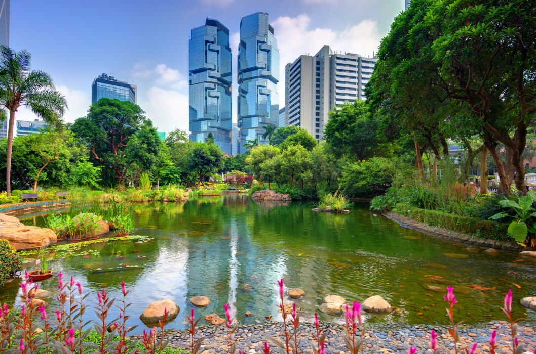 Hong Kong House Park Pond Trees Nature garden architecture building skyscraper wallpaper