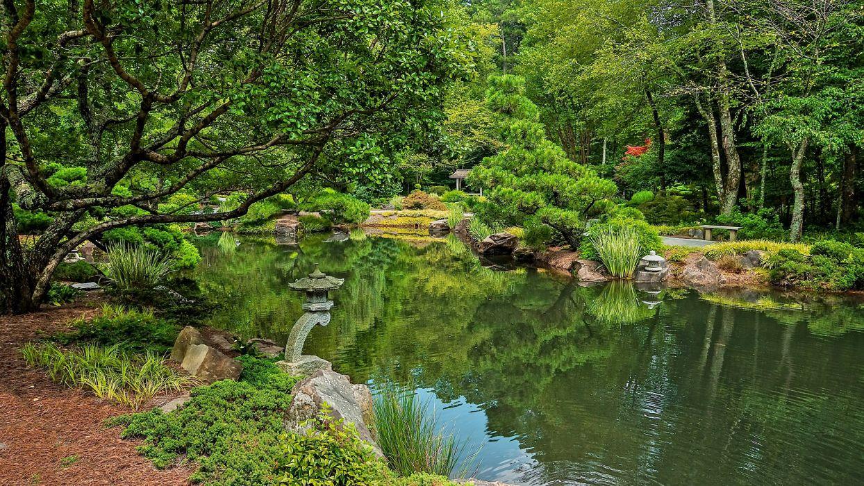 USA Park River Ball Ground Gibbs Garden Trees Nature lake pond asian wallpaper