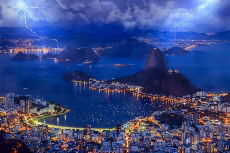 Brazil Rio de Janeiro Brazil Rio de Janeiro bay evening sky clouds lightning lights sea city storm rain wallpaper
