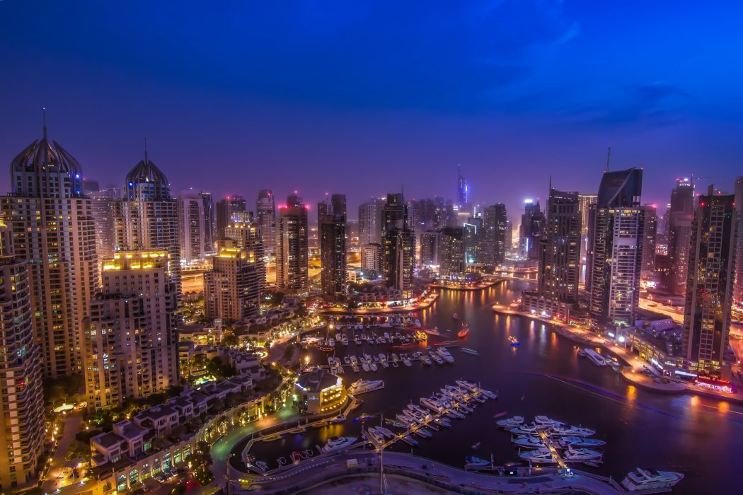 Dubai UAE night city roads buildings skyscraper night lights bay harbor marina wallpaper