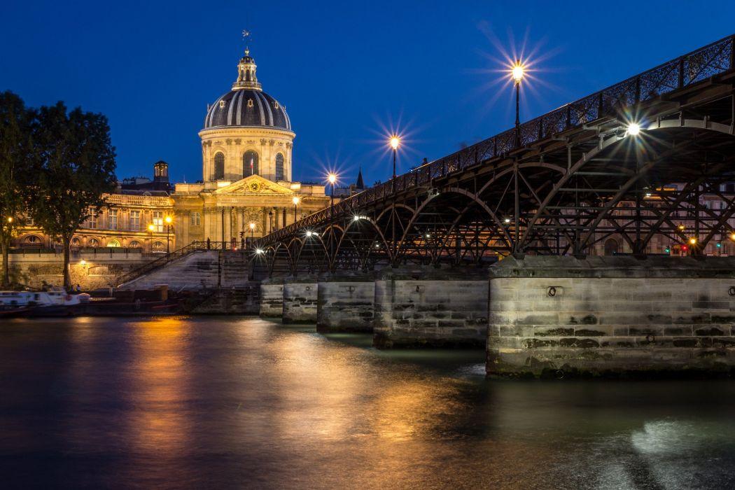 Paris france river city bridge building night lights wallpaper
