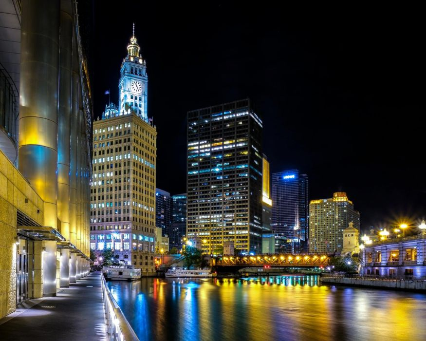 Chicago United States city night lights river reflection wallpaper