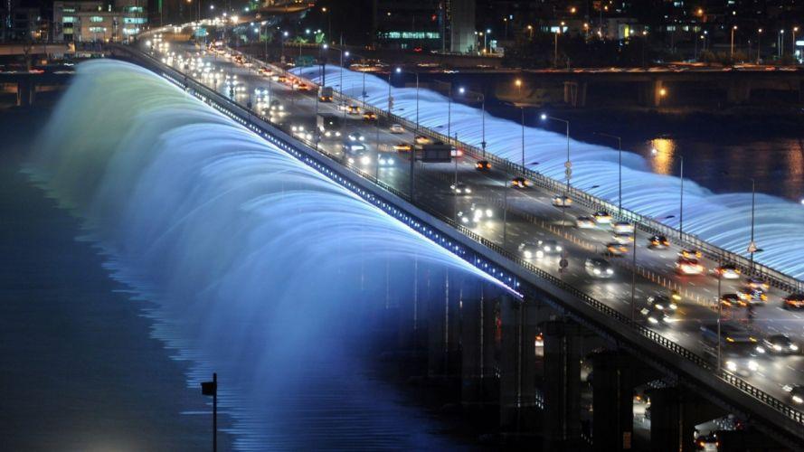 Banpo Bridge Fountain Seoul South Korea cars traffic night lights spray drops wallpaper