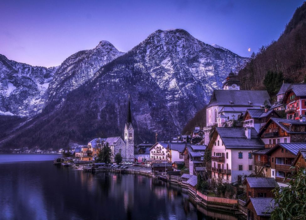 Hallstatt Austria Austria reflection mountains lake water city houses boats nature landscape mountains snow winter wallpaper