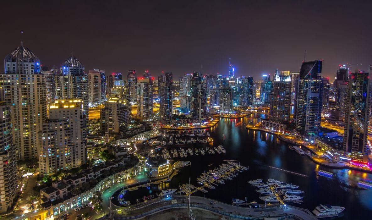 Dubai UAE night city panorama roads buildings skyscraper marina harbor lights wallpaper