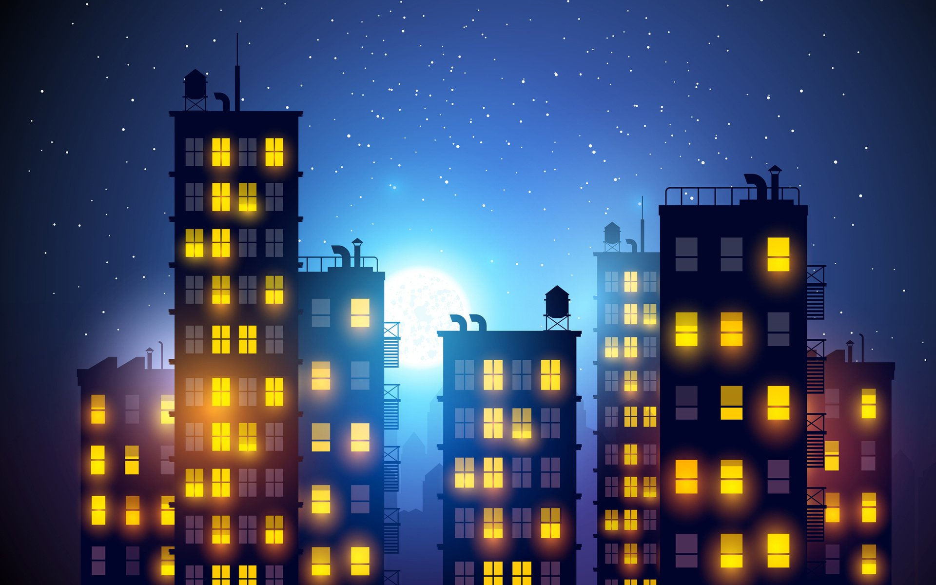 City light night drawing romance artwork building vector ...