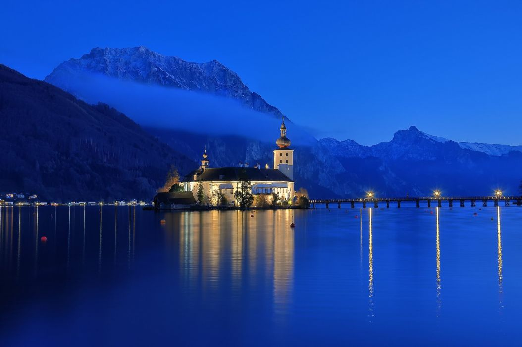 Gmunden Austria lake water mountains snow night sunset church lights dock nature landscape cathedral reflection bridge wallpaper