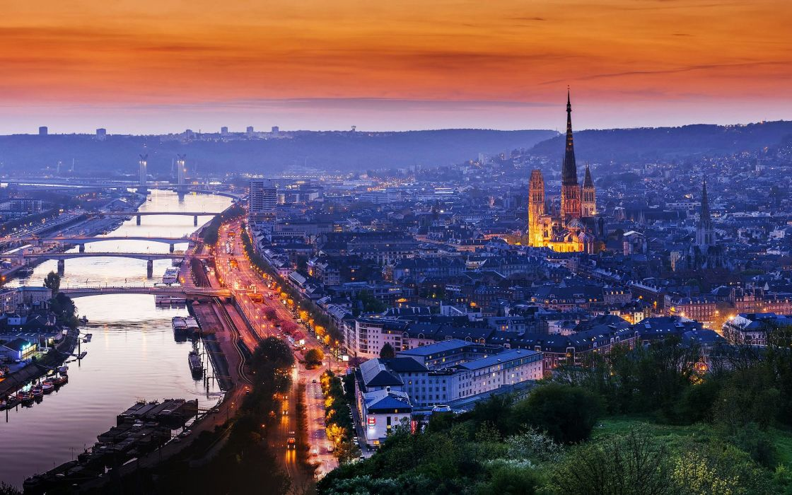 Rouen France Normandy cathedral house road light sunset evening trees river water landscape city bridge wallpaper