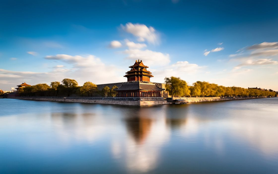 Forbidden City Beijing China the palace moat water castle wallpaper