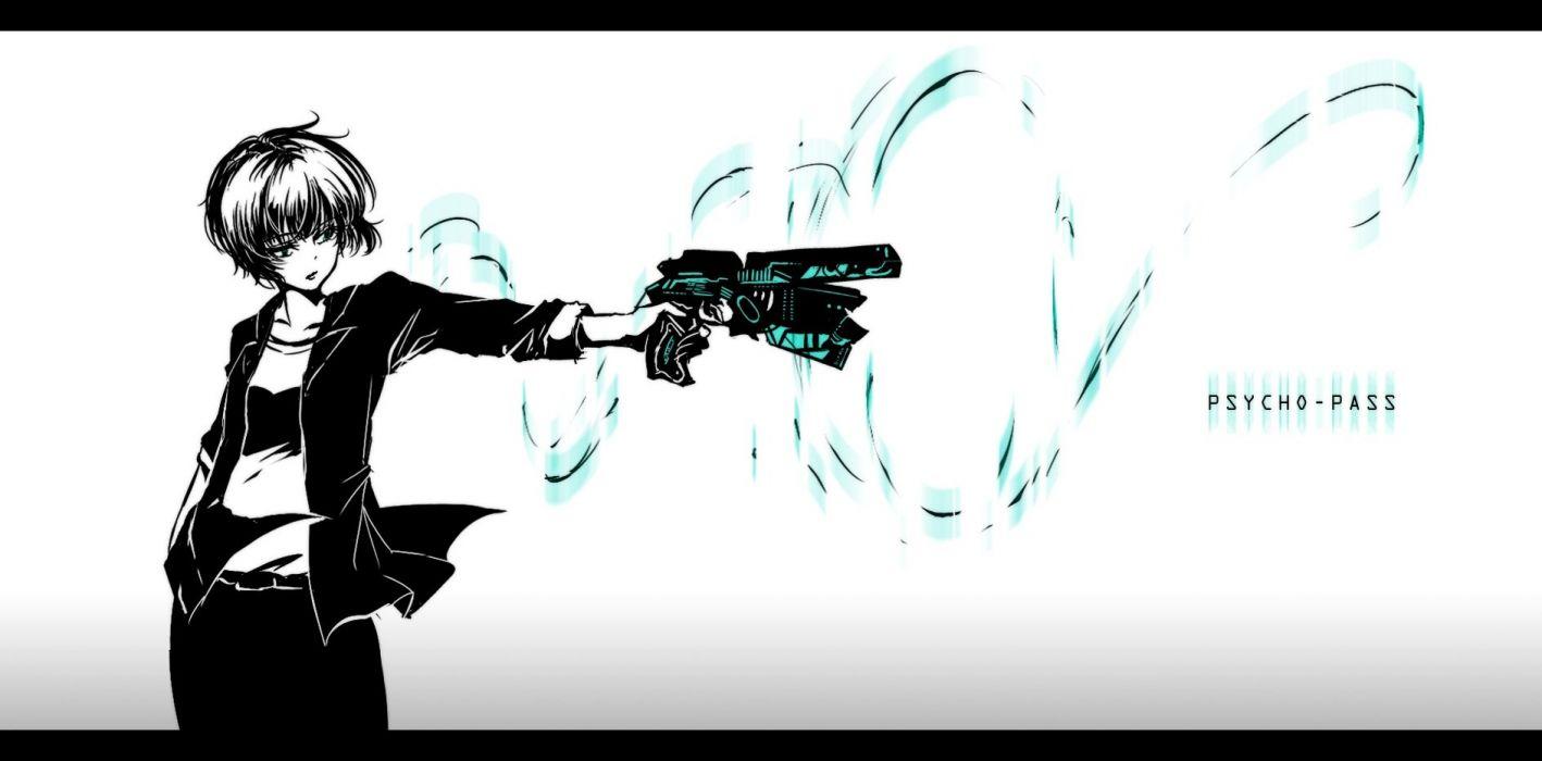 blue eyes gun mokoppe polychromatic psycho-pass short hair tsunemori akane weapon wallpaper