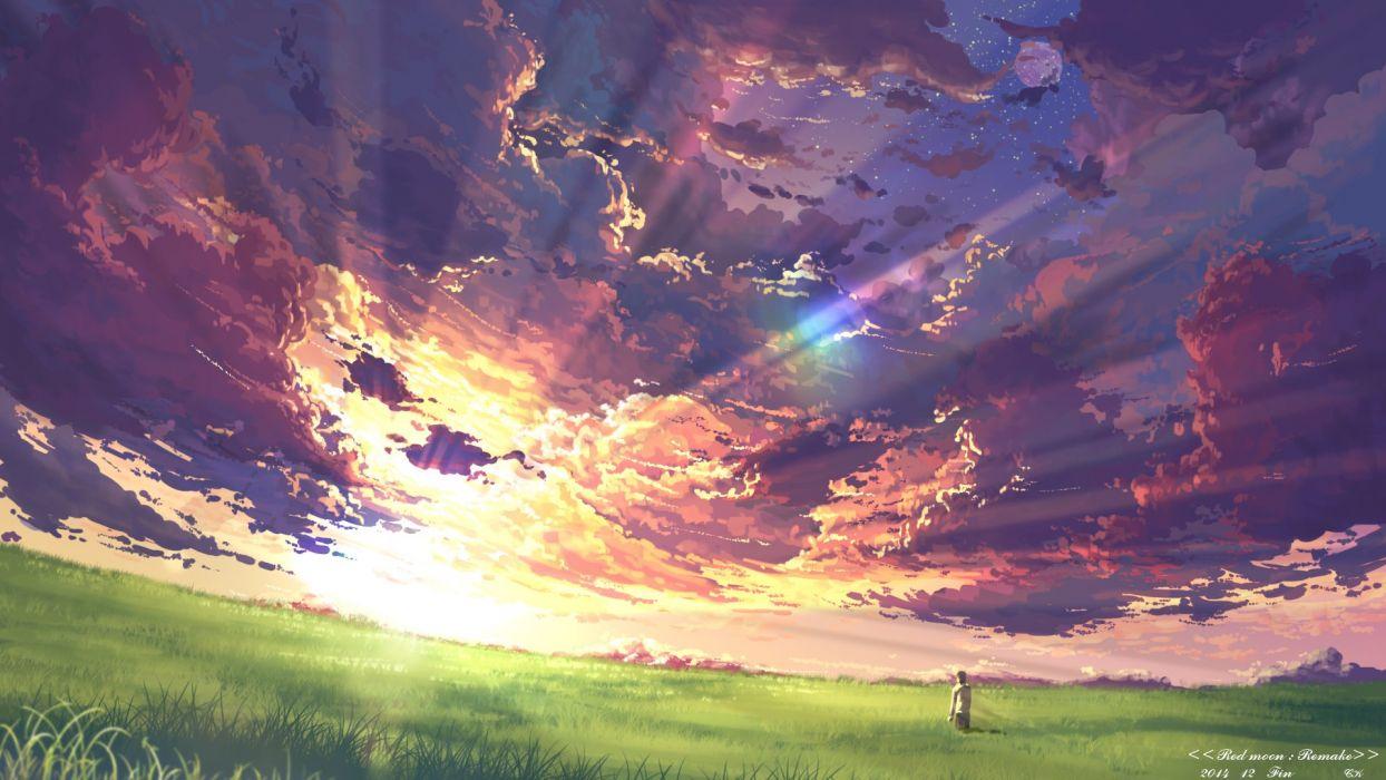 clouds grass moon original scenic sky stars sunset yuuko-san wallpaper