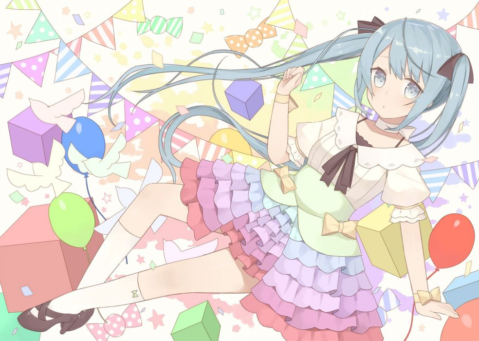 aqua eyes aqua hair bow choker hatsune miku kneehighs long hair nagitoki skirt twintails vocaloid wristwear wallpaper
