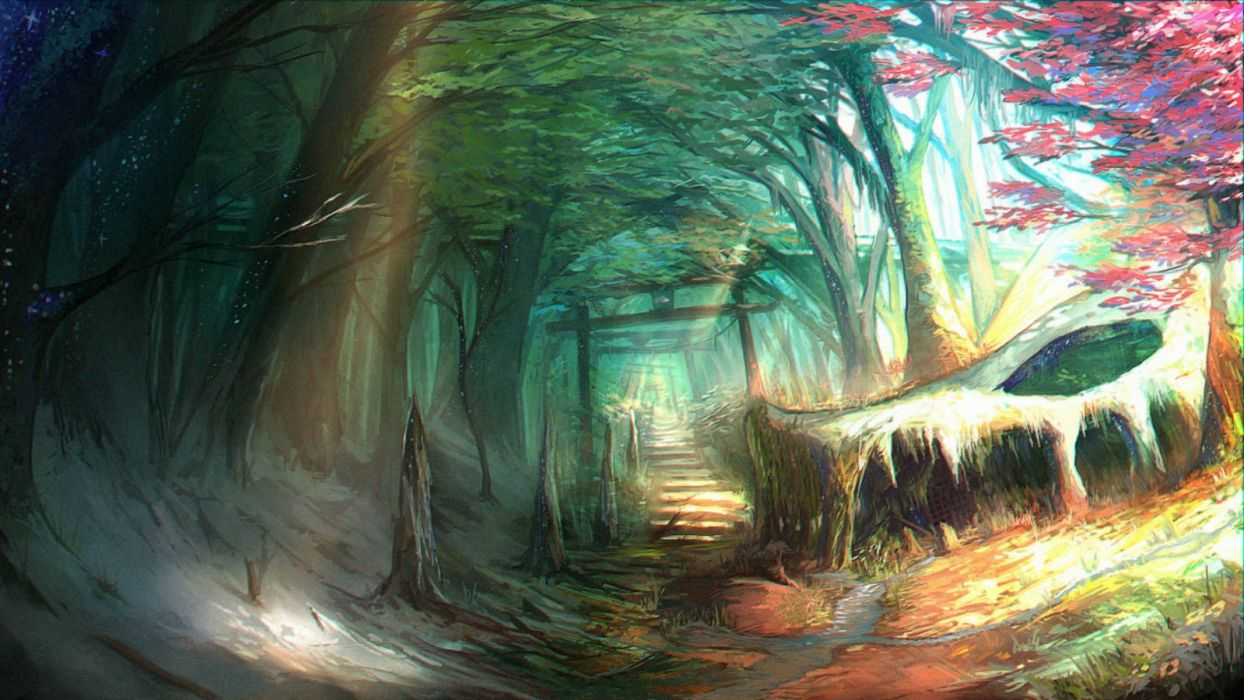 forest nobody original otukimi scenic stairs torii tree wallpaper