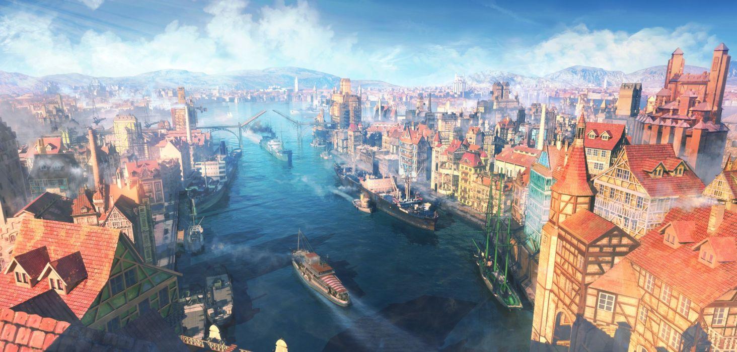 arsenixc boat building city clouds nobody original scenic sky water wallpaper