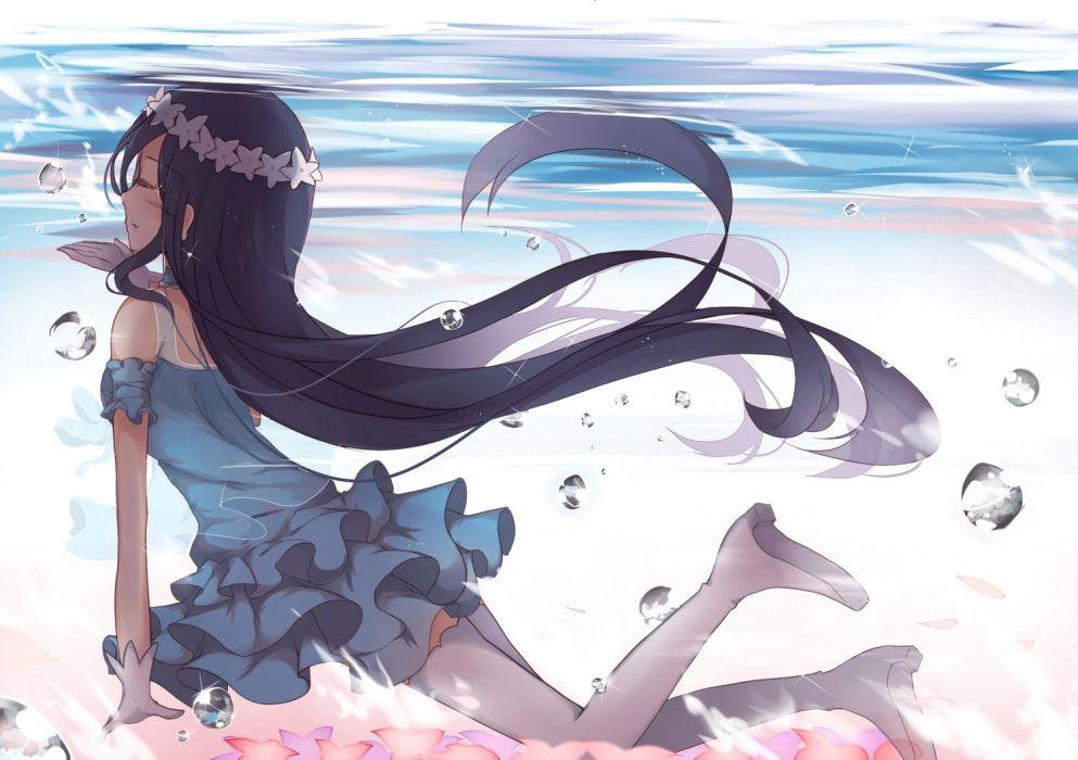 black hair bubbles dress gloves himechui (izzie1995) long hair love live! school idol project sonoda umi thighhighs underwater water wallpaper
