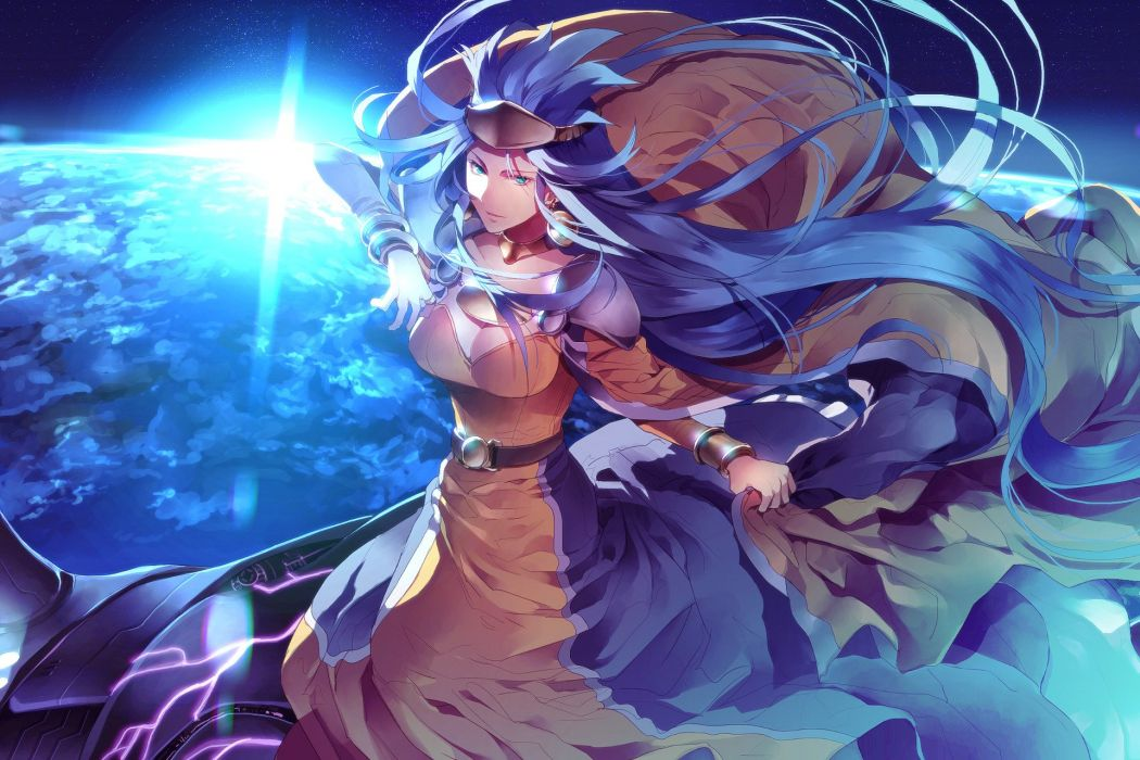 blue eyes blue hair breasts chrono trigger cleavage dress long hair queen zeal sunakumo wristwear wallpaper